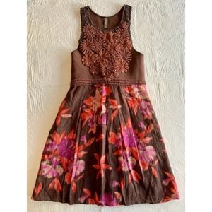 FREE PEOPLE Brown Floral Dress - Small/Petite